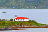 Norway, fjord.Lofoten Islands. Catholic church. — Stock Photo