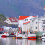 Norway, fjord.Fishing village. Lofoten Islands. — Stock Photo #64312501