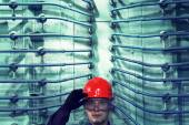 The worker in a helmet at plant. — Stock Photo