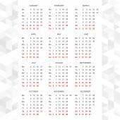 Simple 2015 calendar vector horizontal — Vetor de Stock