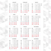 Simple 2015 calendar vector horizontal — Vettoriale Stock