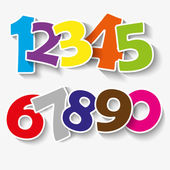 Set of colorful ribbon font. Numbers 0,1,2,3,4,5,6,7,8,9,0.  new year 2015. Vector illustration — Stock Vector