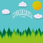 Nature - summer landscape. Vector illustration in flat design style. — Stock Vector