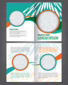 Empty bi-fold brochure template design — Stock Vector