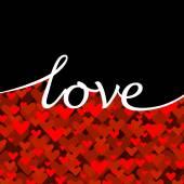 心を持つ赤い愛グリーティング カード — ストックベクタ