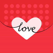 Red love greeting card with hearts — Stock Vector