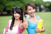 Happy girl College students — Stock Photo