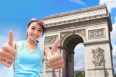 Happy woman travel in Paris — Stock Photo