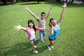 Carefree Happy College students — Stock Photo