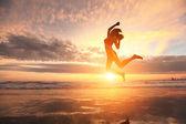 Happy jump sport woman — Stock Photo