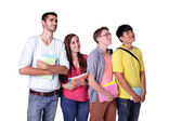 Group happy students look up — Stock Photo