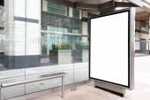 Blank billboard in bus stop — Foto Stock