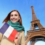 Happy travel woman in Paris — Stock Photo #64805145