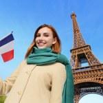 Happy travel woman in Paris — Stock Photo #64805155