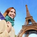 Happy travel woman in Paris — Stock Photo #64805159