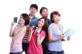 Happy  travelers posing — Stock Photo