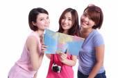 Happy group travel women — Stock Photo