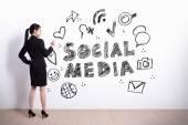 Business woman write social media text — Foto Stock