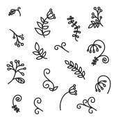 Hand drawn abstract floral elements — Stock Vector