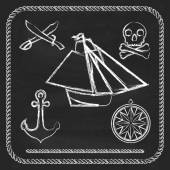 Pirate icons - sloop, cutlassand Jolly Roger — Stock Vector