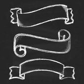 Hand drawn sketch ribbons — Stock Vector