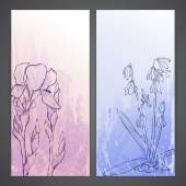 Flayers with flowers - scilla and iris — Vector de stock