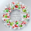 Christmas decoration. The wreath made of white pine branches wit — Wektor stockowy  #58528055