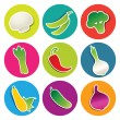Set of vegetable icons in the circles — Stock Vector #59065503