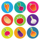 Set of vegetable icons in the circles — Stock Vector
