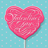 Valentine calligraphic lettering on a pink lollipop — Stock Vector
