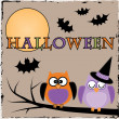 Halloween owls with bats and moon — Stockvector