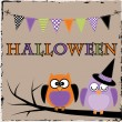 Halloween owls with bunting or banner — Stockvector