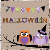 Halloween owls with bunting or banner — Cтоковый вектор