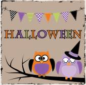 Halloween owls with bunting or banner — Stock Vector