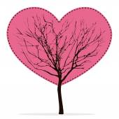 Heart shaped tree with barren branches — Stok Vektör