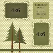 Pine trees on a polka dot background — Stock Vector