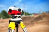 Close-up of theodolite measuring system or surveying engineering equipment — Stock Photo