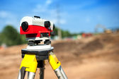 Close-up of theodolite measuring system or surveying engineering equipment — Foto de Stock