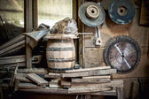 Old and dusty, vintage workshop of a carpenter with spider web and unused tools — Stock Photo