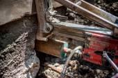 Concrete core drilling machine on construction site — Stock Photo