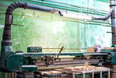 Industrial tools in local wood and furniture factory — Stock Photo