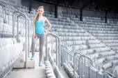 Woman preparing for training on stadium, stairs and fitness training - cross fit workout — Stock Photo