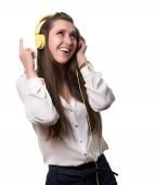 Cheerful girl in headphones — Stock Photo