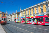 Tramway place du commerce lisbonne potugal — Stock Photo