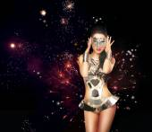 Firework. Woman over Festive Backrgound in Theatrical Costume — Stockfoto