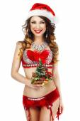 Fantasy. Happy Snow Maiden in Red Lingerie with Gift - Xmas Tree — Stock Photo