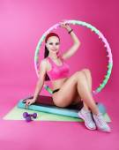 Healthy Lifestyle. Sporty Woman Sitting on Mat with Fitness Equipment — Stockfoto