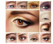 Set of Eyeshadow. Mascara. Mix of Women's Eyes — Stock Photo