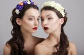 Inspiration.Two Styled Females with Wreaths of Flowers — Stock Photo