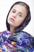 Urban Fashion. Portrait of Teenager Girl in Blue Hood — ストック写真